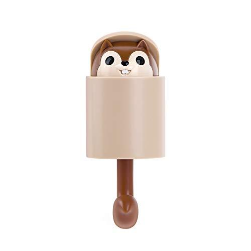 weichuang Gancho invisible de ardilla para colgar llaves, gancho adhesivo para colgar abrigos, sombreros, teléfonos móviles, decoración de pared y puerta (color: marrón)