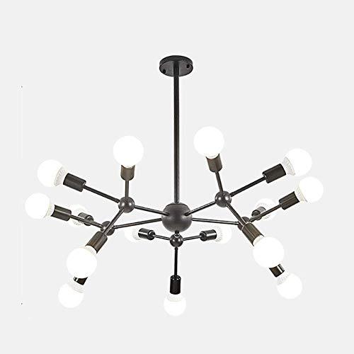 WEM Sputnik Lustre industriel industriel Lustre moderne du milieu du siècle lustre en laiton avec suspension pour salle à manger ou salle à manger Noir 9 têtes, noir 15 têtes
