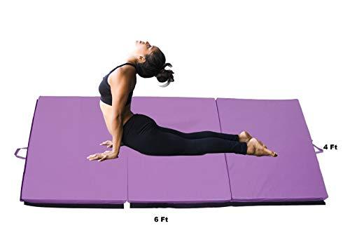 "Pro-Gymnastics Exercise Mat 6'x4' Tri-Fold 2"" Thick Folding Gymnastics Tumble Mat, 2 Carrying Handles for Yoga, Aerobics, Mixed Martial Arts, Home Gym Protective Flooring Workout Mat Purple"