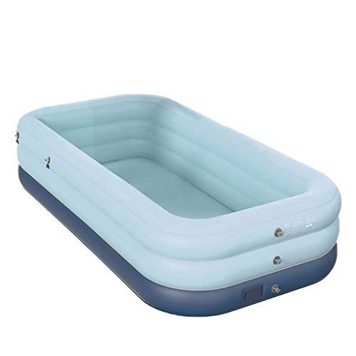 FNKDOR Planschbecken für Kinder Swimmingpool Rechteckig Aufblasbar Schwimmbecken Gartenpool Aufstellpool Schwimmbad mit Automatischer Inflator (210×150×68cm, Blau)