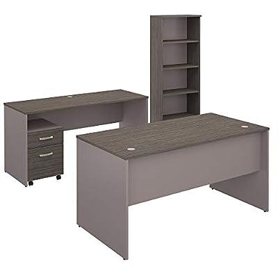 Bush Furniture Commerce 60W Office Desk with Credenza