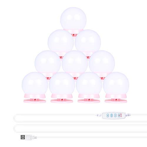 Dimmbar Schminklicht, Hollywood Stil Led Spiegelleuchte mit 10 Dimmbar Glühbirnen 7000K Schminktisch Spiegel Lichter Set für Kosmetikspiegel, Schminktisch/Badzimmer Spiegel Rosa