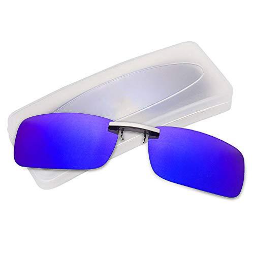 クリップオン サングラス 偏光サングラス クリップ UV400 夜間運転 偏光スポーツサングラス 偏光レンズ メガネの上からつけられる 付きサングラス 跳ね上げ 偏光クリップ眼鏡 紫外線カット 前掛けクリップ式サングラ ス 収納ケース付き 超軽量 (ブルー