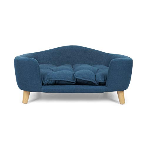 Samuel Mid Century Small Plush Pet Bed, Navy Blue and Natural Finish