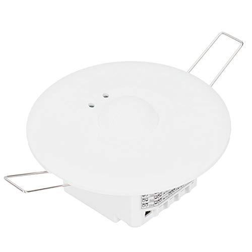 Sensor de microondas de 110-240 V, detector de movimiento para montaje en techo, campo de visión de 360 °, sensor de movimiento por radar, color blanco