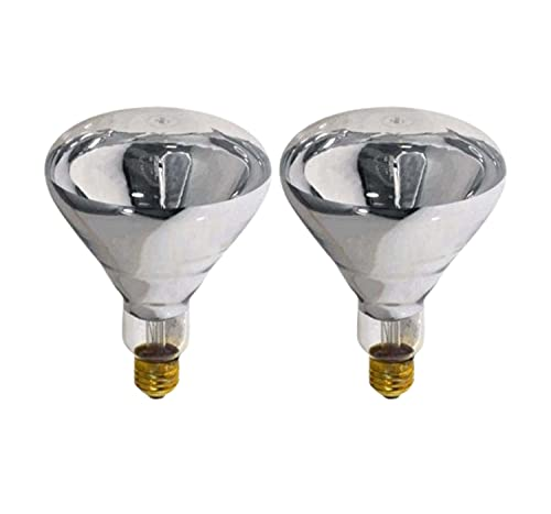 Sterl Lighting – 250 Watts BR40 Heat Lamp Bulbs Flood Reflector Light Bulbs E26 Base – Incandescent Bulb for Heat Lamp Chickens with 120V 1500Lm 2700K Warm White Clear – 2 Pack