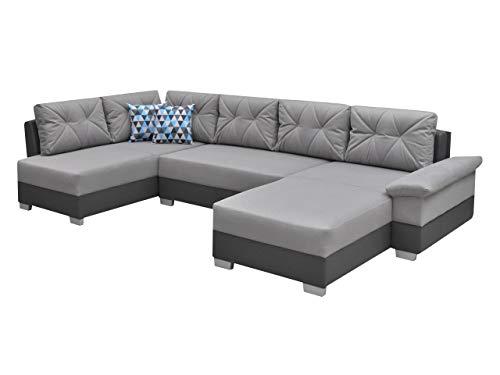Ecksofa Eckcouch Manhattan U! XXL Sofa Couch mit Bettkasten und Schlaffunktion, Hochelastischer Schaumstoff HR, Große Funktionssofa U-Form Schlafsofa Bettsofa (Ecksofa Links, Madryt 195 + Novel 11)