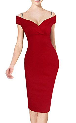 HOMEYEE Damen Vintage Blumendruck Off Shoulder Riemchen Knielänge Bodycon Enges Kleid B309 (EU 38 (Herstellergroesse: M), Rot)
