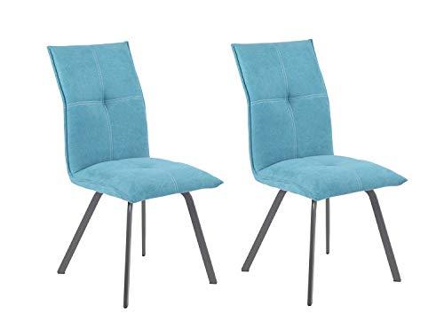 Meubletmoi Aria stoelen, stof, blauw, metalen voeten, zeer comfortabel, modern design, 2 stuks