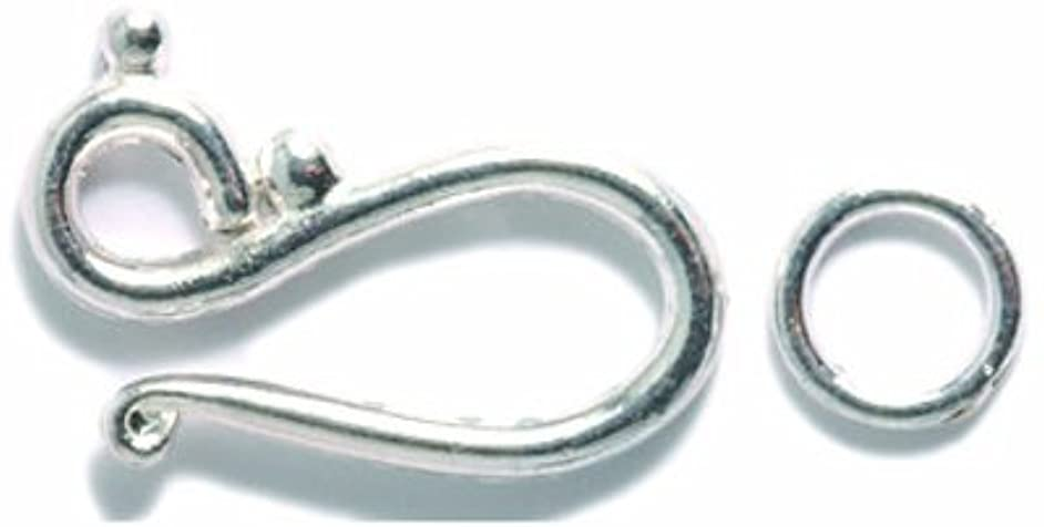 Shipwreck Beads Pewter Hook and Eye Clasp, 21 and 8mm, Metallic, Silver, 5-Set