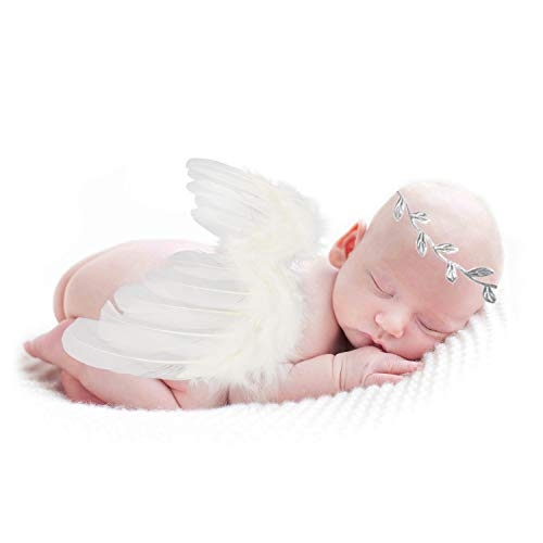 Newborn Baby Boys Girls Angel Feather Wing with Leaves Halo Headband Set Infant Photo Props Outfit Costume