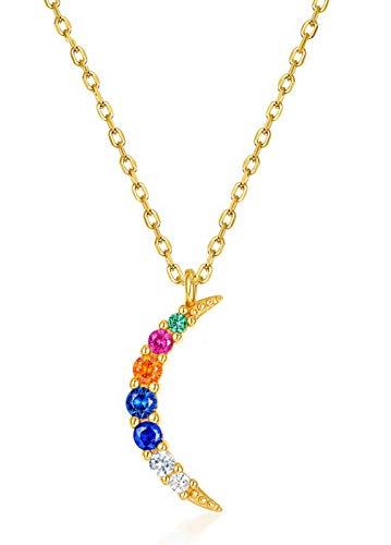 ZHANGQIAN Collares Colgantes de la Luna para Las Mujeres Collares en Oro, Collar de Las Mujeres Cumpleaños Regalos de la joyería de la Navidad para Las Mujeres
