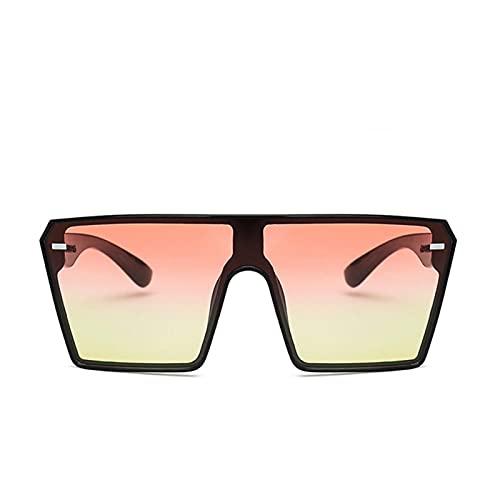 Gafas de Sol cuadradas de Gran tamaño de Moda Gafas de Sol Grande Marco Grande para Las Mujeres de una Pieza Gafas Espejo de Sombra Lente Clara (Lenses Color : Pink Yellow)