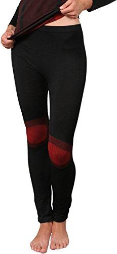 normani Ski Unterwäsche für Damen und Herren Farbe Damenhose Schwarz/Rot Größe L/XL