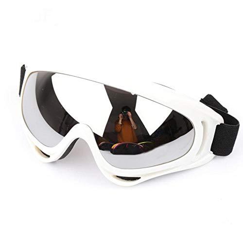 QWERTYU Gafas de esquí, protección deportivas, snowboard, skate, gafas de esquí, resistentes al viento, al polvo y a los rayos UV, blanco y plateado,