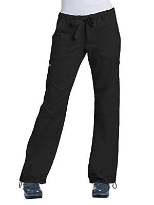 KOI Women's Lindsey Ultra Comfortable Cargo Style Scrub Pants (Tall Sizes), Black, X-Large