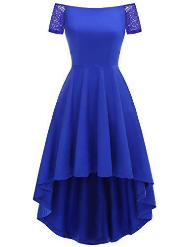 YOYAKER Damen Sommerkleid Kleid Vintage Retro Schulterfrei Spitzen Kurzarm Brautjungfernkleider Cocktail Party Abendkleider Royalblue XL