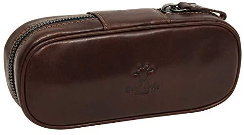 Gusti Pfeifentasche für 2 Pfeifen Etui Tabakbeutel Vintage Braun Leder