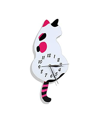 Orologio da parete a forma di gatto con coda oscillante | decorazione da parete per cameretta dei bambini | Orologio da parete in legno | Orologio a pendolo retrò in legno (gatto)