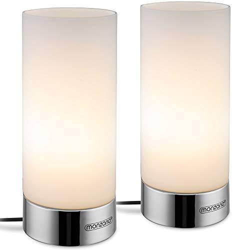 Monzana 2er Set Tischlampe Chrome Optik Touch Tischleuchte 3 Helligkeitsstufen Lampenschirm Glas Nachttischlampe Leuchte Lampe