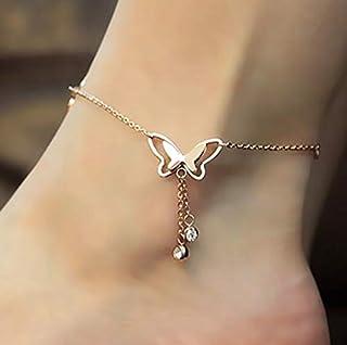 Ankle Bracelet, Women Butterfly Ankle Chain Anklet Bracelet Barefoot Sandal Beach Foot Jewelry Accessories, Silver