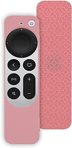 Funda de Silicona Suave con Todo Incluido para Apple TV 4K Remote Controller 2021, reemplazo de la Funda Protectora, protección de Cuerpo Completo, Funda a Prueba de Golpes (Rosa)