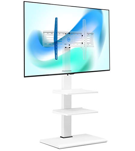 """FITUEYES Swivel Floor TV Stand Base for TVs Up to 65"""" TVs White Corner TV Stand with Height Adjustable Entertainment Shelves – Perfect for Media Storage, FT-S3602MW"""