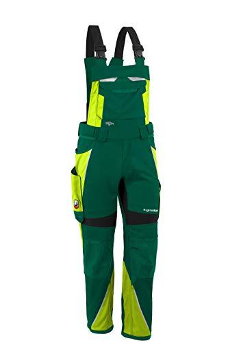 Grizzlyskin Latzhose Iron Grün/Warngelb N64 - Workwear Arbeitshose für Männer & Damen, Unisex Blaumann, Codura-Schutzhose mit vielen Taschen