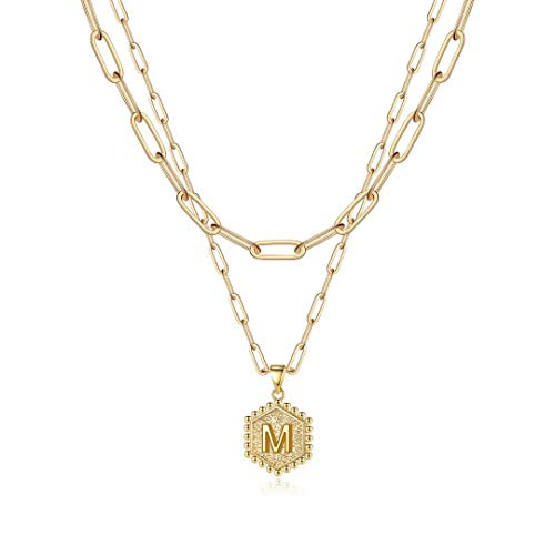 Dainty Layering Initial Necklaces for Women, 14K Gold Plated Paperclip Chain Necklace for Women Simple Cute Hexagon Letter Pendant Initial M Necklace Choker Necklaces Gold Layered Necklaces for Women