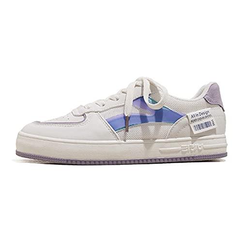 WggWy Zapatillas bajas de lona para mujer, modernas, informales, con tapa, bonitas, planas y cómodas, color azul, 36