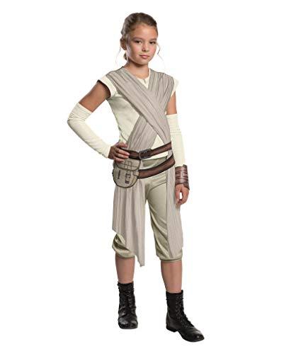 Star Wars 7 Kostüm Kinder Rey deluxe 5-tlg Hemd mit Schärpe, Gürtel mit Tasche, Armstulpen, Manschette, Hose weiss, sand, beige - L