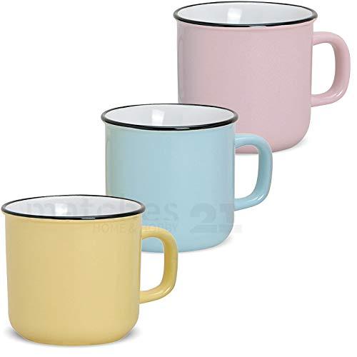 matches21 Tassen Becher Kaffeebecher Emaille-Optik Kaffeetassen Email-Optik 3-tlg. Set gelb blau rosa Keramik SONDERPREIS je 9 cm / 350 ml