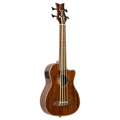 Ortega Guitars Bass Ukulele - Lizard Series - elektro-akustisch - inklusive Gigbag - Akazie, Mahagoni (CAIMAN-BS-BG)