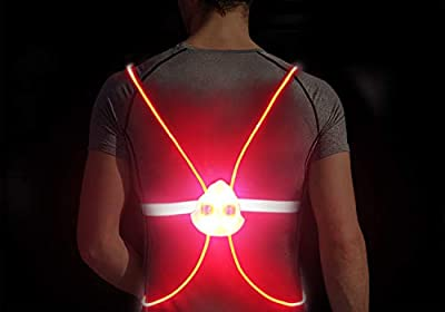 Gandecor LED Reflective Safety Vest for Night Running,Walking or Cycling,Red