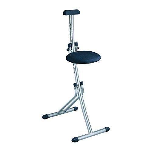 Leifheit Multisitz Niveau, rückenschonende Sitz- und Stehhilfe, Bügelstehhilfe belastbar bis 100 kg, 13-fach höhenverstellbar von 45 bis 85 cm, platzsparend zusammenklappbar, silber, chrom