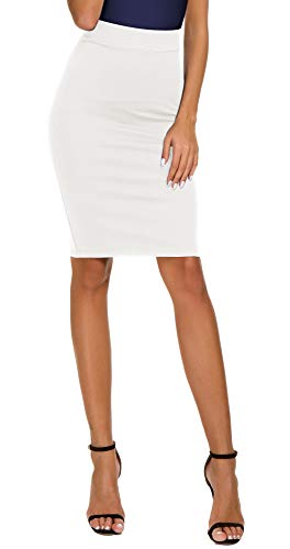 Women's High Waist Bodycon Midi Pencil Skirt (S, White)
