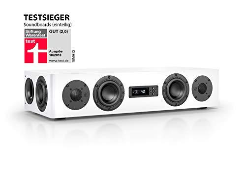 Nubert nuPro AS-250 Soundbar Testsieger | TV-Lautsprecher für Streaming | Soundbase für klare Stimmen | Stereoboard mit 2.5 Wege Technik | aktive Stereobase für Spitzenklang | Sounddeck Weiß