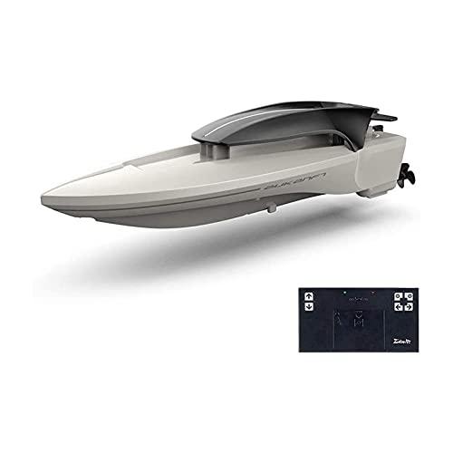 Kikioo Bateau RC Rechargeable 2.4Ghz Bateaux télécommandés Piscines et lacs Anti-collision Fast RC Jet-ski 25km / h High Speed Boat Toys LED Lights pour enfants et adultes Cadeaux d'été (Couleur: Bl
