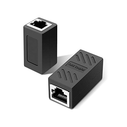 2 pièces connecteur rj45, adaptateur ethernet, câble Ethernet Extender Adaptateur Femelle vers Femelle, Noir