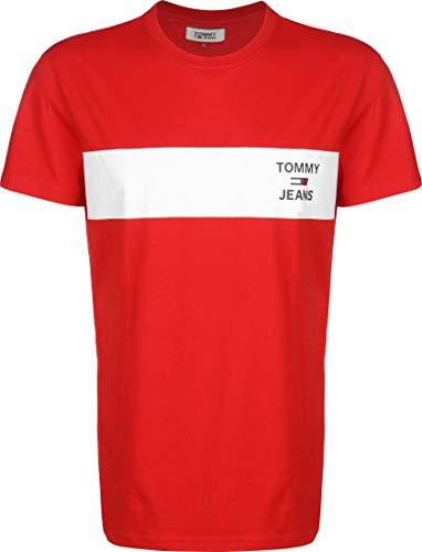 Tommy Jeans Tjm Chest Stripe Logo Tee Camicia Sportiva, Rosso (Deep Crimson Xnl), Large Uomo