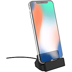 Stouchi Phone Charge Dock Station Compatible iPhone 10 and iPhone 11, iPhone X/8/8 Plus/7/7Plus/6/6 Plus/6S/ 6S Plus/5S/ 5, iPad and iPod Touch Black