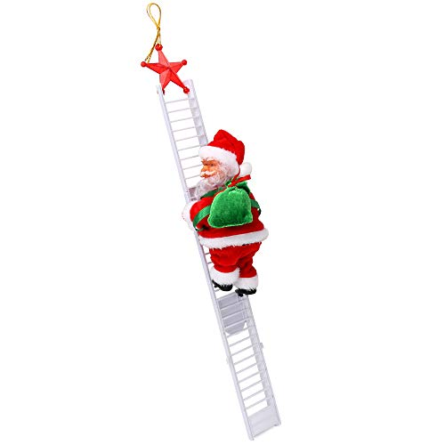 Achort Climbing Ladder Santa, Christmas Electric Climbing Santa Claus, Climbing with Music Hanging Decor, Xmas Figurine Ornament, Indoor Outdoor Decoration for Christmas Party Home Door Hanging