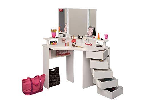 Jugendmöbel24.de Eck-Schminktisch Mädchen Kinderzimmer Frisierkommode Kommode Schminkspiegel Make up Spiegel Kosmetiktisch Kosmetik Set Frisiertisch