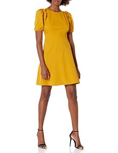 Lark & Ro Women's Florence Puff Half Sleeve Empire Waist Fit and Flare Dress, CHAI TEA, 8