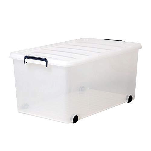 Kcakek Doorzichtige plastic opbergdoos Grote Kleding Sorting Box for Children Opbergboxen met deksels plastic opbergdoos met grote capaciteit onder het bed van opslag Dozen Indoor & Outdoor Storage