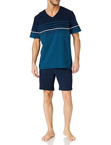 Schiesser Herren Kurz V-Ausschnitt Zweiteiliger Schlafanzug,petrolblau,54
