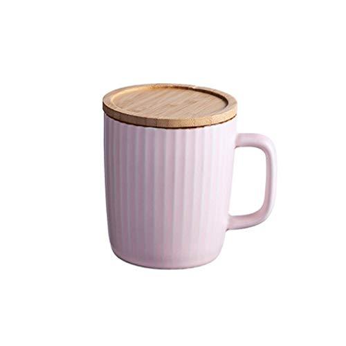 Taza con tapa de cerámica Copa de agua Home Creative Simple Taza de bebida de gran capacidad (Color : Pink)