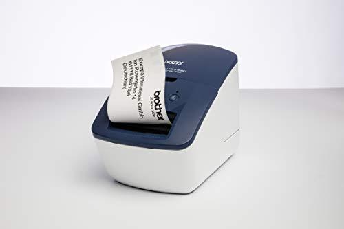 Brother QL600B - Impresora de Etiquetas Profesional con tecnología térmica Directa, Talla Única, Azul/Blanco