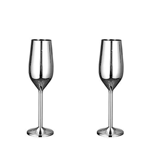 Jugo bebida champán vidrio copa de copa de copa de vidrio whisky taza de fiesta barra de barras de acero inoxidable copa de vidrio de vino adecuado para adultos (Color : B Silver (200 ML))