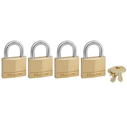 Master Lock 140Q Solid Keyed Alike Padlocks, 4-Pack, Brass, Silver